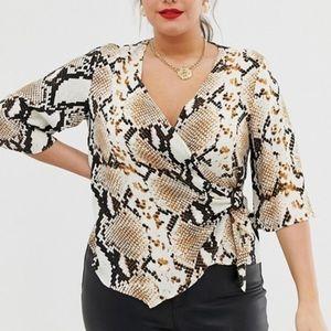 Wrap snakeskin blouse